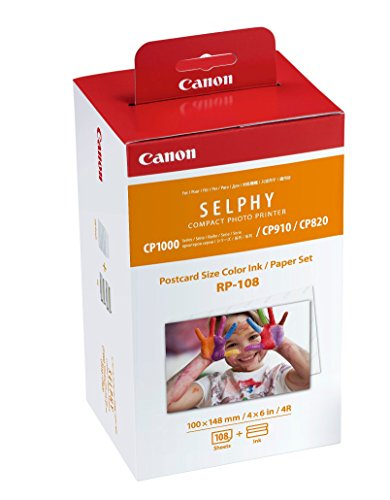 Canon RP-108 Color Ink/Paper Set, Compatible with SELPHY CP910/CP820/CP1200/CP1300 ()