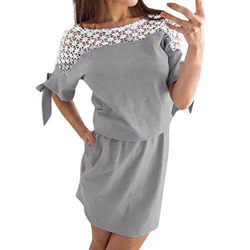 e2f1060ddec9 Janly Casual Kurze Kleider für Sommer Hollow Out Spitze Shirts Kleid Damen  Kalte Schulter Sundress grau