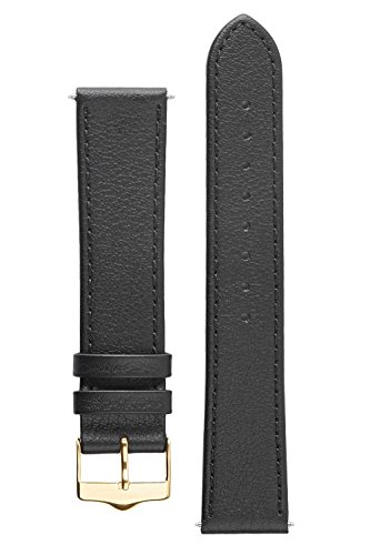 Signature Seasons in black 16 mm watch band. Replacement watch strap. Genuine leather. Gold Buckle Watch Chrome Leather Band