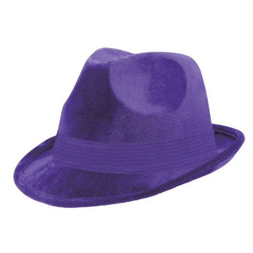 Suede-Like Finish Velour Fedora Hat with Matching Color Hatband Costume Party Headwear, Purple, Fabric, 5