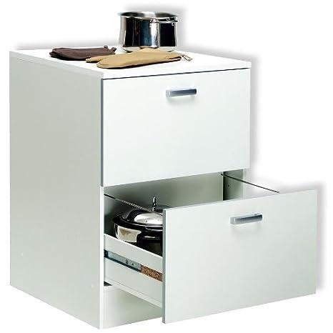 Amazing Base Mobile Cucina Componibile Due Cassettoni Legno Bianco BS6758 L60h85p60