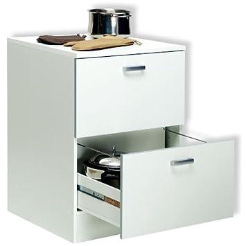 base mobile cucina componibile due cassettoni legno bianco bs6758 ... - Base Cucina Componibile
