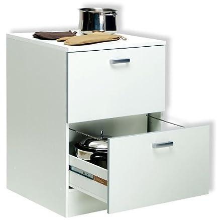 Base mobile cucina componibile due cassettoni legno bianco BS6758 ...