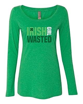 Panoware Women's ST Patricks Day Long Sleeve T-Shirt   Irish Girl Wasted