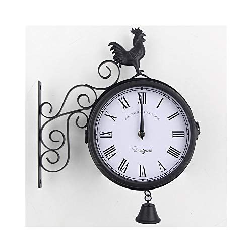 (Wall Clock Mounted Outdoor Clock,Double Sided Bracket Clock,for Garden,Indoor(Rooster,Black))