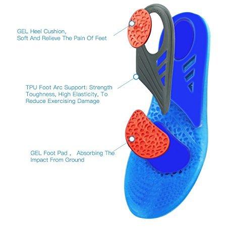 HLYOON GEL Sports Comfort, plantillas recortables para la absorción de choque, protección del talón y apoyo para el arco del pie, aliviar el dolor del pie y la fascitis(EUR 41-47)