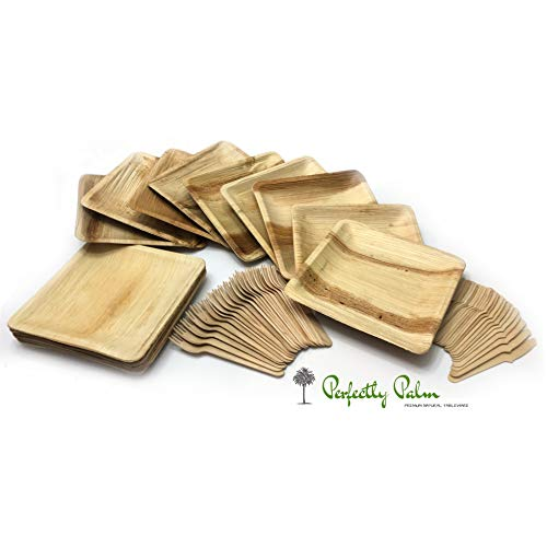 Green Square Charger Plates - Disposable Palm Leaf Dinnerware and Utensil Set by Perfectly Palm | Rustic Eco Friendly Compostable Square Plates & Wooden Utensil Party Pack