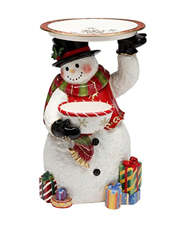 Cosmos Gifts 56348 Snowman Figurine Holding Plate and Bowl, 17-3/4-Inch