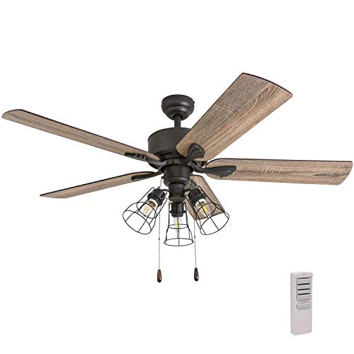 Prominence Home 50684-01 Aspen Pines Farmhouse Ceiling Fan 3 Speed Remote , 52 , Barnwood Tumbleweed, Aged Bronze