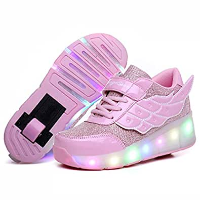 Nsasy Roller Shoes Kids Roller Skates Shoes Girls Boys Wheels Shoes Become Sport Sneaker with Led for Children Gift Pink Size: 1 Little Kid