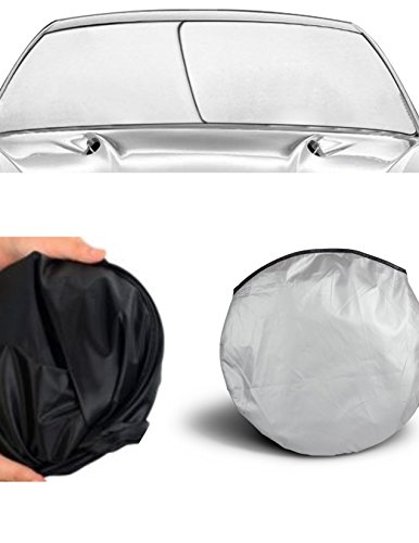 APSG Windshield Sun Shade (EZ Install, EZ FOLD, EZ Store) Fold-able Dash Protector UV hot Cold Summer Winter Sunshade Window ()