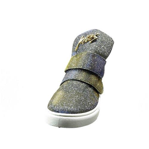 Angkorly - Scarpe da Moda Sneaker alti donna strass d'oro paillette Tacco a blocco 2 CM - Blu