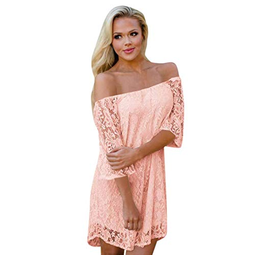 Witspace Womens Summer Sexy Off Shouder Lace Shift Loose Beach Party Mini -