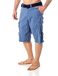 Men's Iron Co. Belted Twill 100% Cotton Cargo Shorts Blue 29