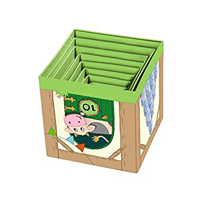 HABA On the Farm Sturdy Cardboard Nesting & Stacking Cubes - Reinforcing Numbers 1 to 10