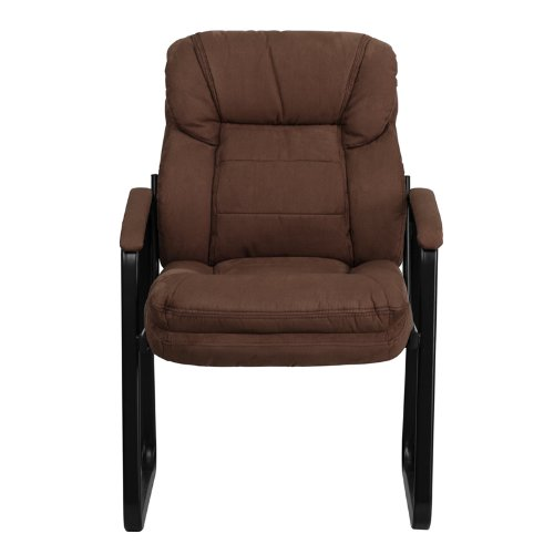 Flash Furniture Brown Microfiber Executive Side Reception Chair with Sled Base by Flash Furniture (Image #3)
