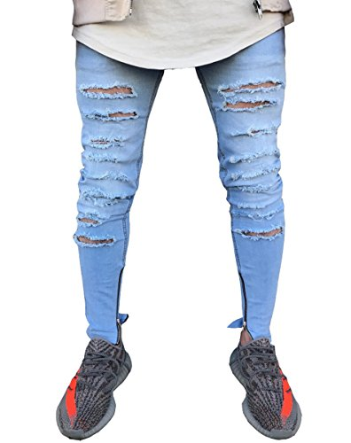 Men's Super Skinny Ripped Distressed Slim Fit Jeans with Zipper Details 34