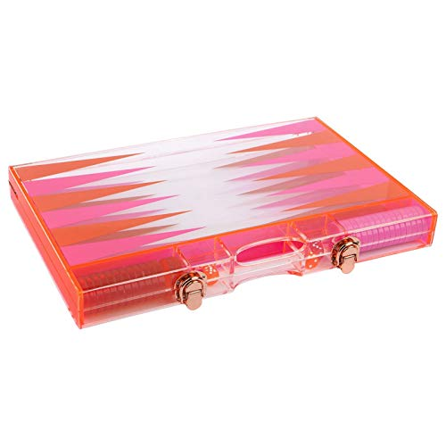 SunnyLIFE Travel Backgammon Game Set w/Transparent Waterproof Lucite Board - Neon Turquoise Orange by SunnyLIFE (Image #1)