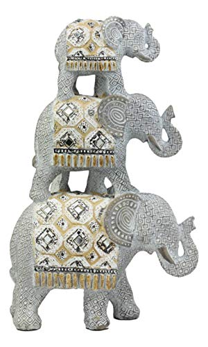 Ebros Silver Geometric Animal Totem Pole Stacked Elephant Statue with Unique Tapestry Blanket Design 13