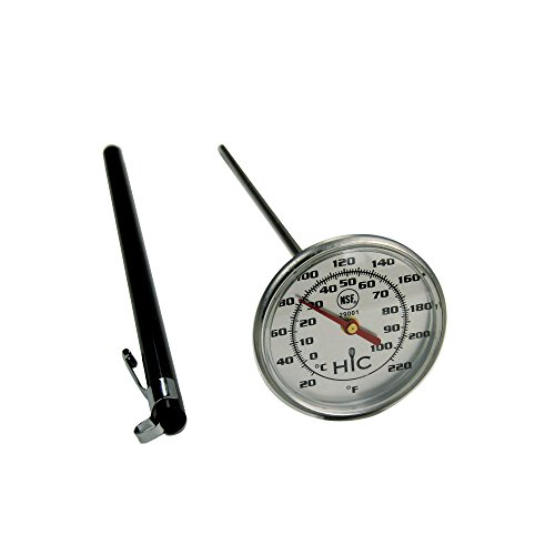 HIC Instant-Read Meat Poultry Turkey Grill Thermometer, Large 2-Inch Shatterproof Face, Stainless Steel and Protective Sheath with Internal Temperature Chart
