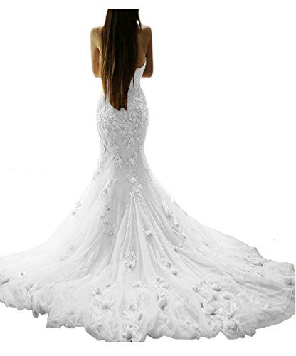 Chiffon Lungo Indietro Maniche Senza Abito Partito Bianco Vestito Una Avril Di Linea Aperto Da Del Promenade qxwOn406