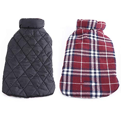 Huntty Dog Like Dog Jacket Designer Warm PlaidDog s Pet Clothes Elastic Small to Large Dog Clothes,Red,Neck 30cm
