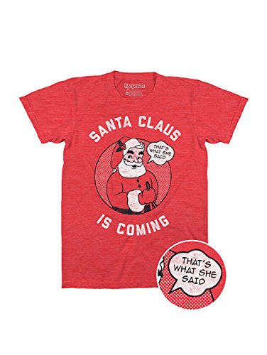 Tipsy Elves Mens Santa Claus Is Coming Tee Christmas T Shirt, Red ,X-Large