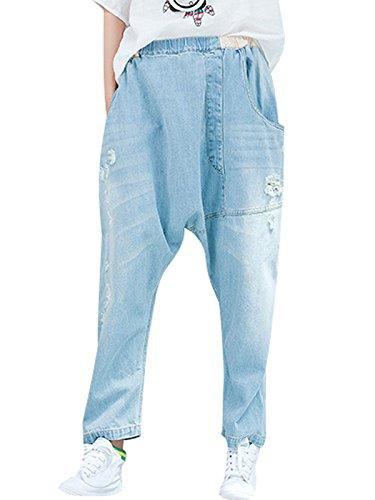 Bigassets Femmes Taille elastique Irrgulier Trou Jeans Harem Pantalons Bleu Clair