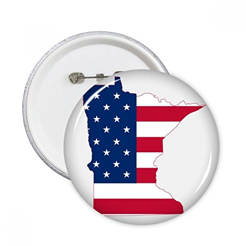 The United States Of America USA Minnesota Map Stars And Stripes Flag Shape Round Pins Badge Button Clothing Decoration Gift (Minnesota Star Stripes)
