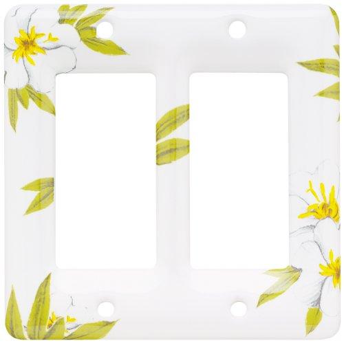 Brainerd 64528 Ceramic Double Decorator Wall Plate / Switch Plate / Cover, Magnolia