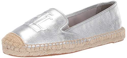 Lauren Ralph Lauren Women's Destini Espadrille Wedge Sandal, Silver, 8 B US