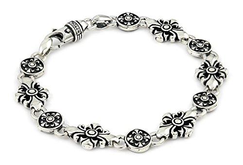 Twisted Blade 925 Sterling Silver Large Fleur De Lis Cross Link Bracelet 8'' by Buy For Less
