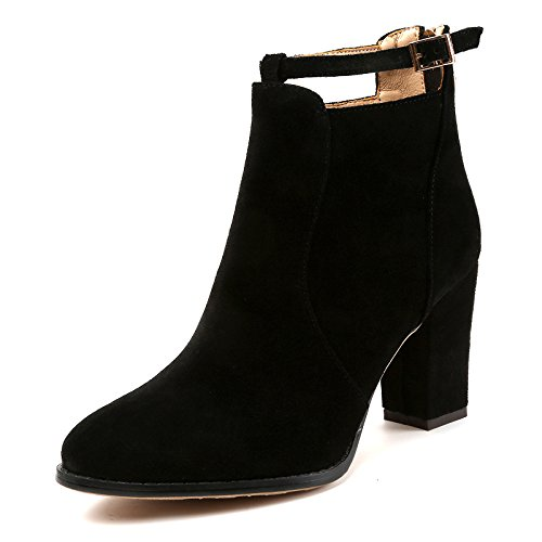 With Autumn Boots Female black And Martin Winter Boots Round Thick High Heeled xIFBIrq