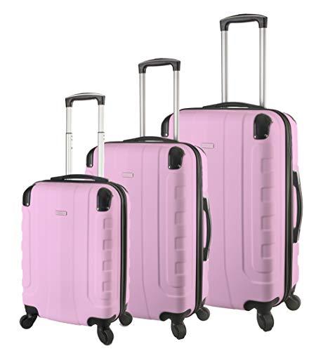 TravelCross Chicago Luggage 3 Piece Lightweight Spinner Set - Pink