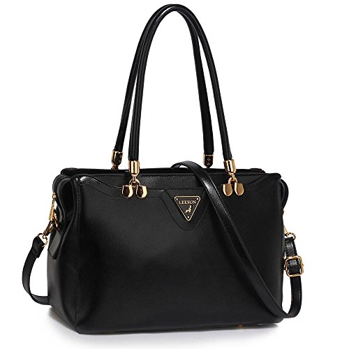 Inspired Black Purse (Womens Handbags Ladies Designer (Black) Shoulder Bag Faux Leather 3 Compartments Tote New Celebrity Style)