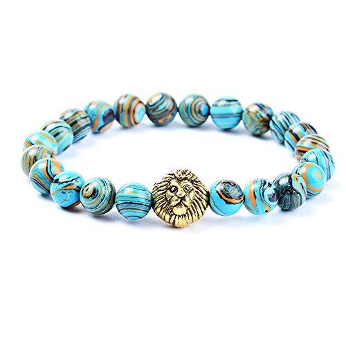 anzhongli Bead Bracelet for Men Women 8mm/6mm Beaded Bracelets Stone Elastic Yoga Bangle