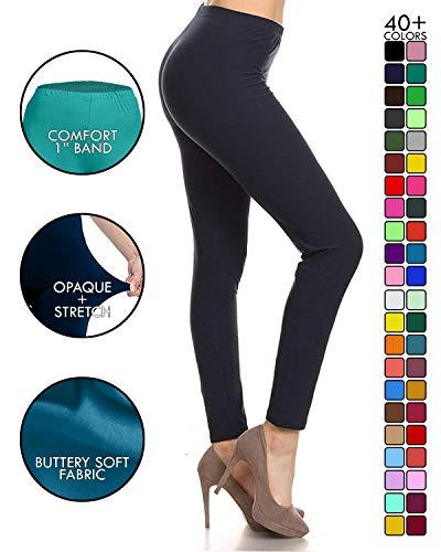 Leggings Depot Ultra Soft Basic Solid Plain Best Seller Leggings Pants (One Size (Size 0-12), Navy)