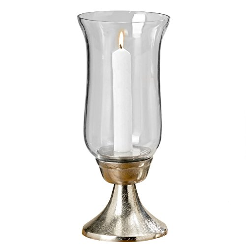 Whole House Worlds Grand Hotel Silver Hurricane Candle Stick Holder with Glass Sleeve, Silver Aluminum Nickel, 10 1/2 Inches Tall, by WHW