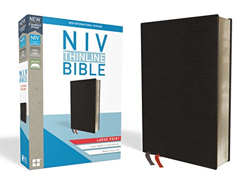 NIV, Thinline Bible, Large Print, Bonded Leather, Black, Indexed, Red Letter Edition, Comfort Print (Black Leather State)