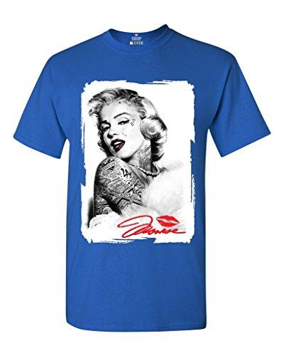 Marilyn Monroe Tattoo T-shirt Marilyn Monroe Shirts Medium Royal Blue