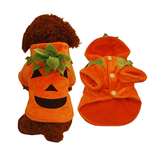 helegeSONG Comfortable Cute Pumpkin Warm Pet Dog Cat Puppy Hoodie Halloween Costume Winter Clothes - M -