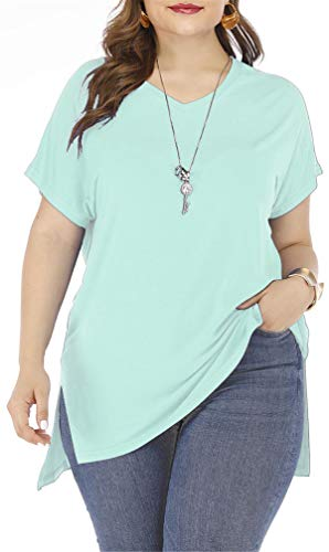 onlypuff Women's Mint Green Short Sleeve V Neck High Low Loose T Shirt Basic Tee Tops with Side Split -