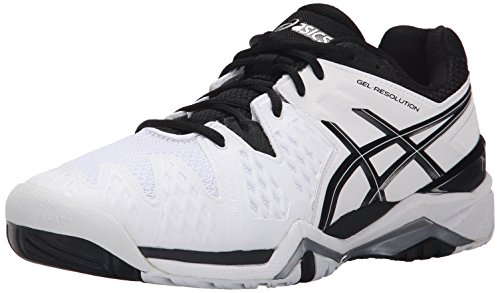 ASICS Men's GEL-Resolution 6 Tennis Shoe, White/Black/Silver, 11 M US