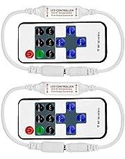 LED Remote Controller,LED Remote Controller Wireless RF Mini Strip Lights Dimmer 11 Key DC 12V for Single Color 3528 5050 Strip Lights 2PCS