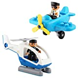 Flying Helicopter Toy Police Set with Magnets Flying Magnetic Plane - Policeman Toys Add on Sets for Magnetic Blocks - Magnetic Tiles Expansion Kids Educational STEM Learning Toys for Boys and Girls