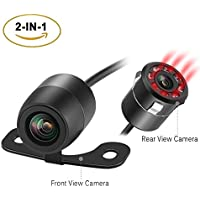 SIVNN LED Car Rear View Backup Camera 2-IN-1 Front/Reverse View with HD Infrared Night Vision and 170 Degree Waterproof for Truck & Cars