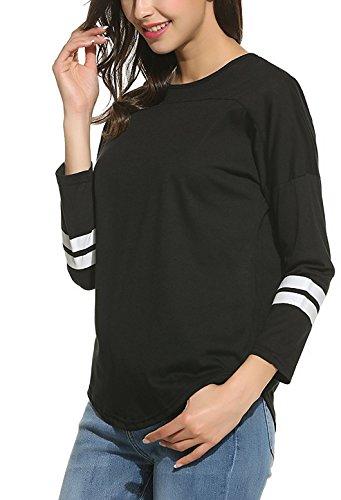 SimpleFun Ladies Raglan Baseball T-Shirts-3/4 Sleeve Baseball Tees Black M