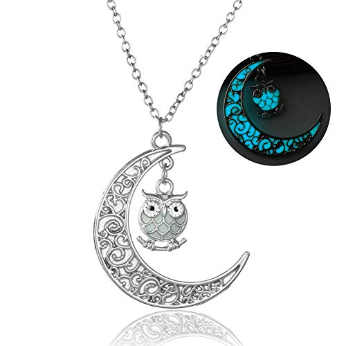 Onairmall Onairmall Luminous Series Owl Moon Necklace Fluorescent