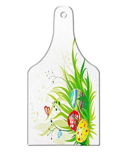 Butterfly Meadow Design Wine Glass - Lunarable Easter Cutting Board, Colorful Different Patterned Eggs on Green Grass Fresh Meadow Flowers Butterflies, Decorative Tempered Glass Cutting and Serving Board, Wine Bottle Shape, Multicolor