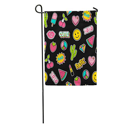 Semtomn Garden Flag Cool Colorful Cute Girls Patches Doodle Pattern Babe Badge Cactus Home Yard House Decor Barnner Outdoor Stand 12x18 Inches Flag